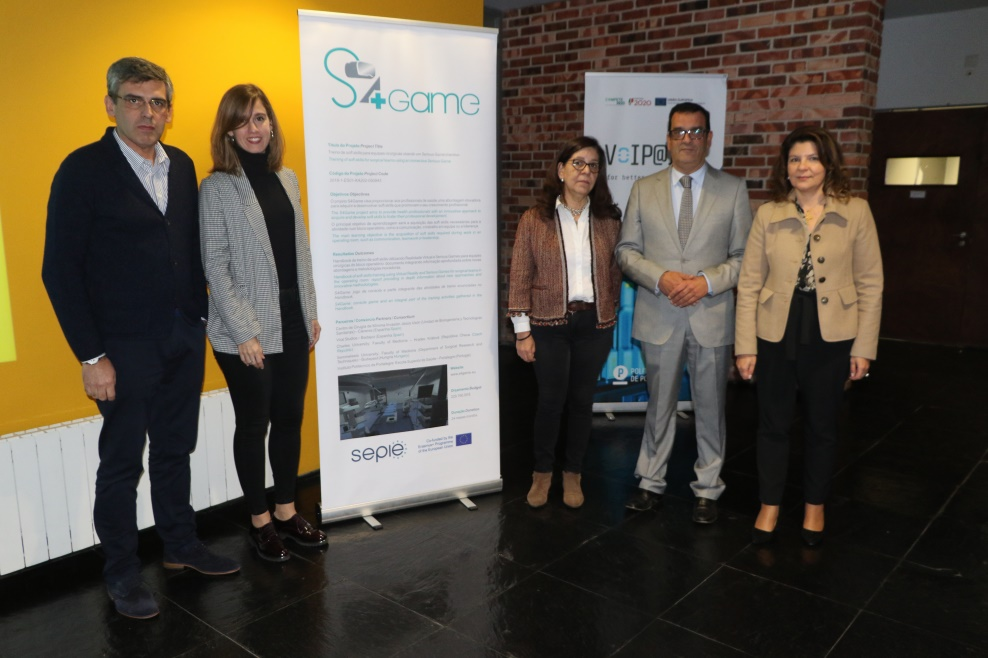 S4Game members. From left to right, Antonio Arco, Luisa F: Sánchez, Luísa Murta, Adriano Pedro and Helena Arco