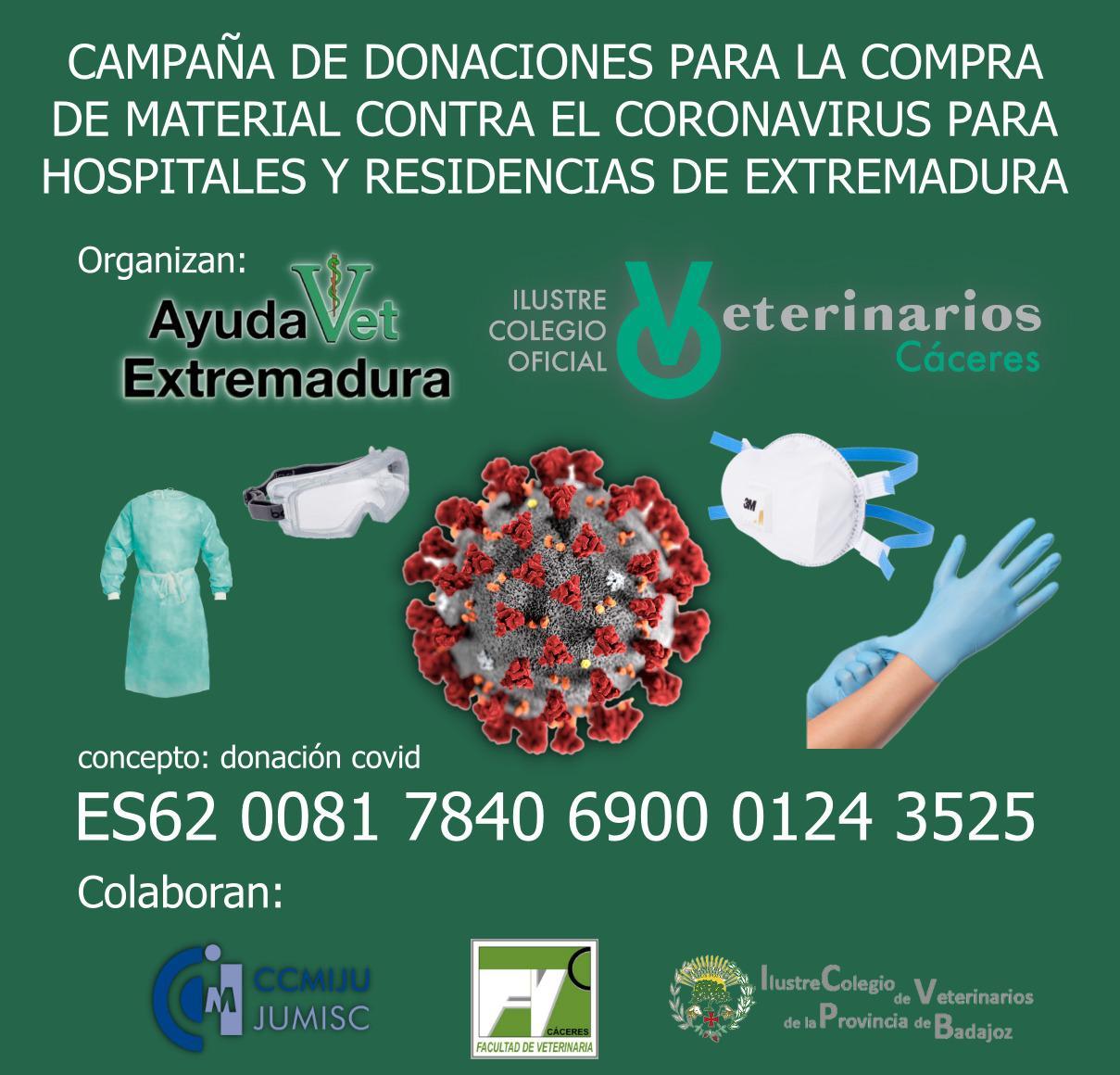 Campaña donaciones material sanitario Extremadura